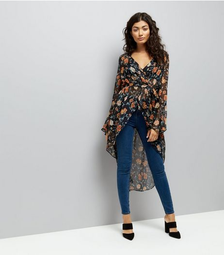 Black Floral Print Flared Sleeve Cover Up | New Look