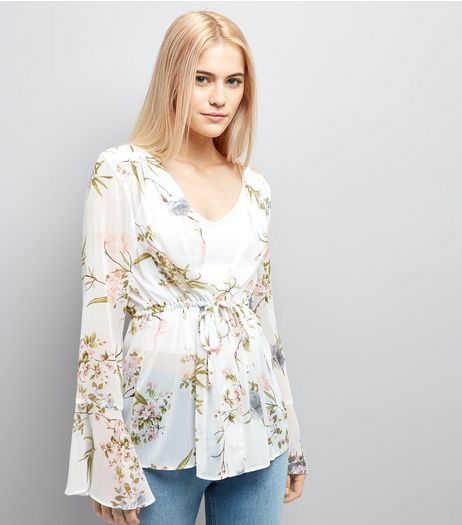 White Floral Chiffon Tie Front Blouse | New Look