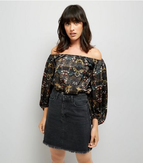 Blue Vanilla Black Satin Floral Print Bardot Neck Bodysuit | New Look