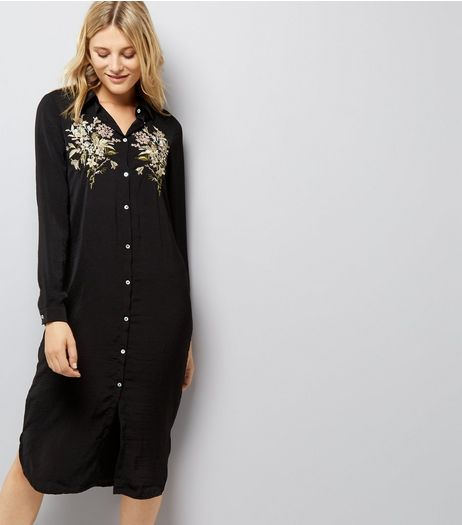 Blue Vanilla Black Floral Embroidered Satin Shirt Dress | New Look
