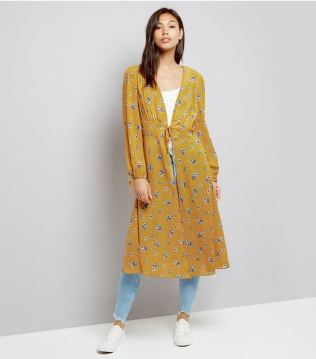 Yellow Floral Print Lace Up Front Kimono  | New Look