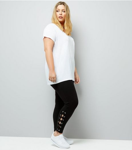 Curves Black Lace Up Hem Leggings | New Look