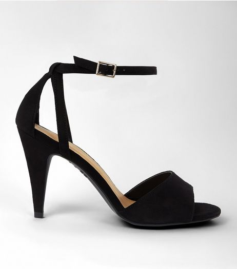 Black Suedette Cone Heeled Sandals | New Look