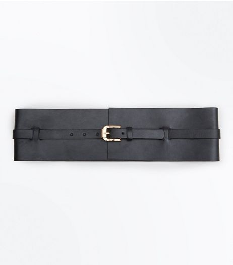 Black Wide Buckle Waist Belt  | New Look