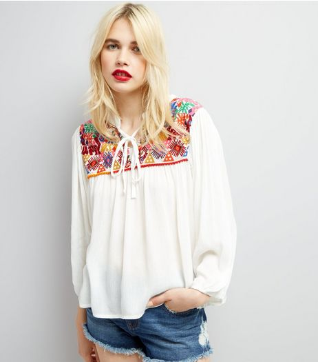 Blue Vanilla Cream Embroidered Smock Top | New Look
