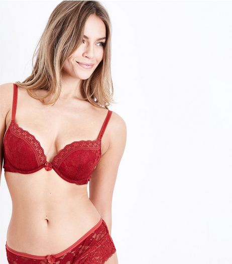 Red Lace Push Up Bra | New Look