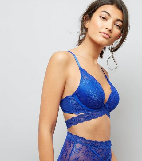 Blue Strappy Lace Push Up Bra  | New Look