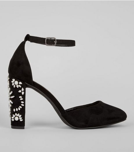 Wide Fit Black Embellished Heels | New Look