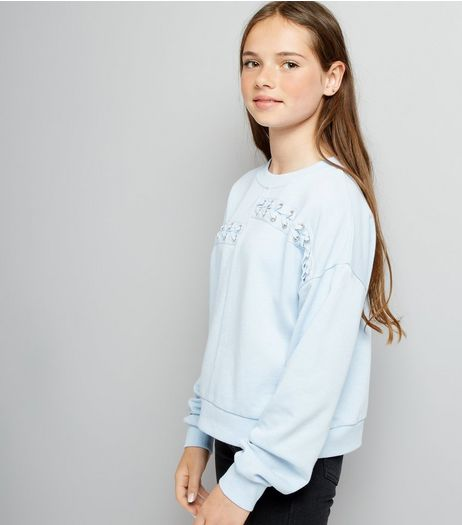 Teens Pale Blue Spliced Lace Up Sweater | New Look