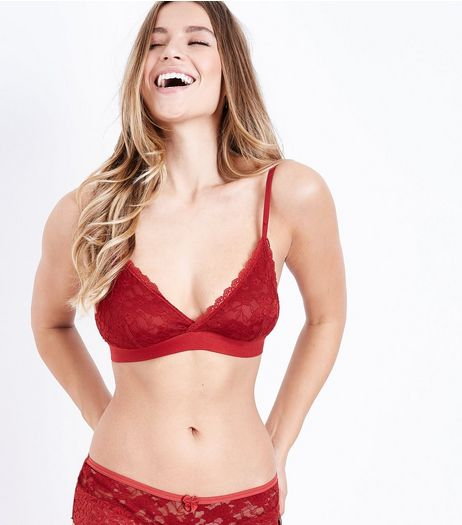 Red Lace Bralet  | New Look
