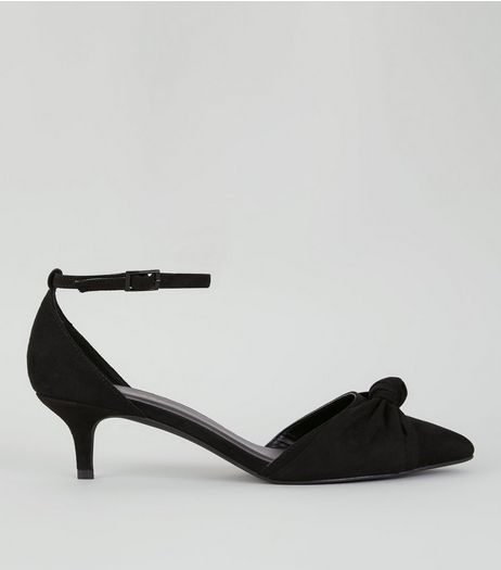 Black Suedette Knot Front Kitten Heels | New Look