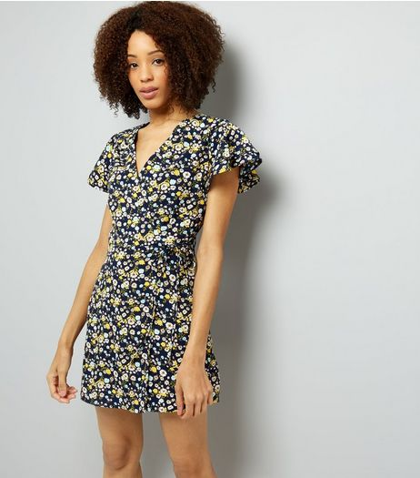 Cameo Rose Navy Floral Print Wrap Dress  | New Look