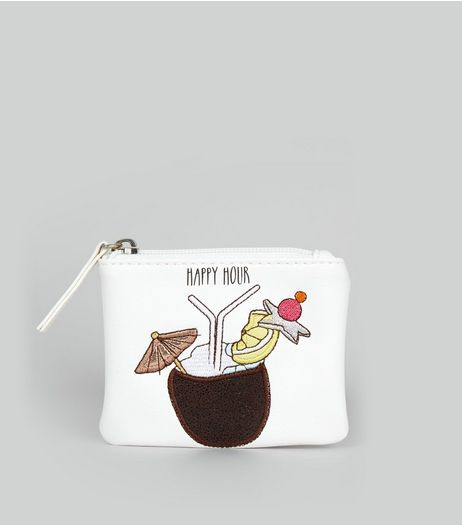 White Happy Hour Embroidered Zip Top Purse | New Look