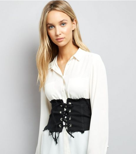 Cameo Rose Black Frayed Corset Belt | New Look