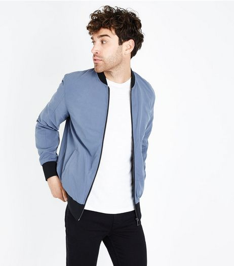 Pale Blue Contrast Trim Bomber Jacket | New Look