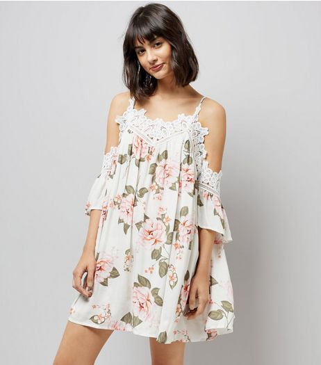 Tall White Floral Print Crochet Trim Dress | New Look