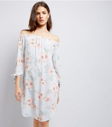 Tall Light Blue Floral Print Bardot Dress | New Look