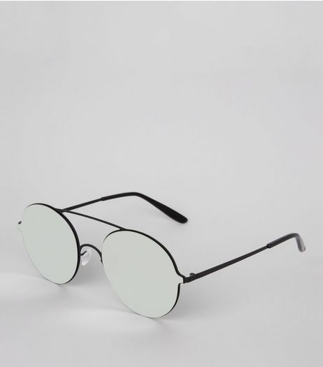 Black Mirror Lens Round Sunglasses | New Look