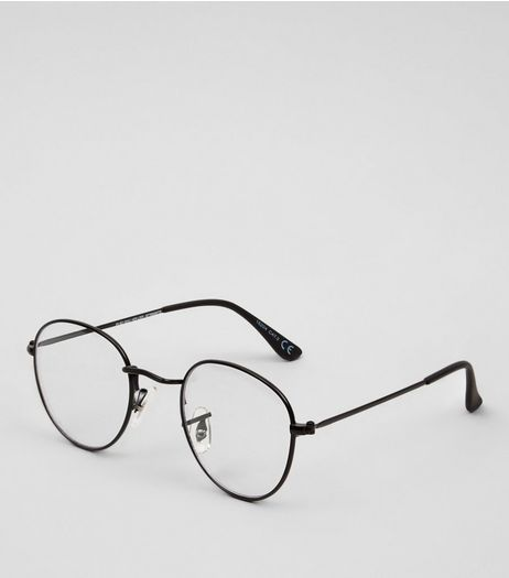 Black Thin Frame Clear Glasses | New Look