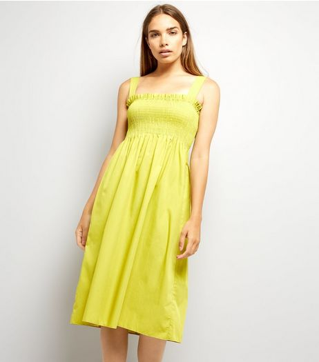 Yellow Shirred Smock Midi Dress | New Look
