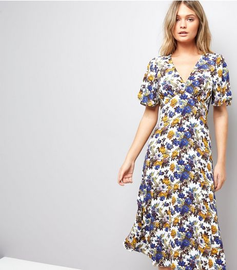 White Floral Print Tea Dress  | New Look