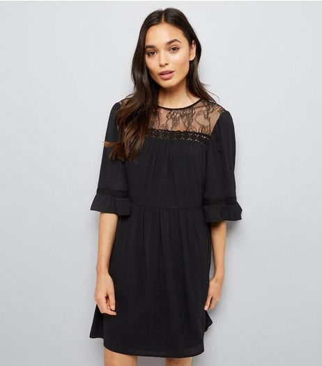 Black Lace Neck Smock Dress | New Look