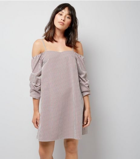Red Stripe Gathered Sleeve Dress | New Look