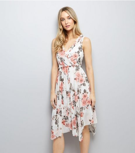 White Floral Print Midi Dress | New Look