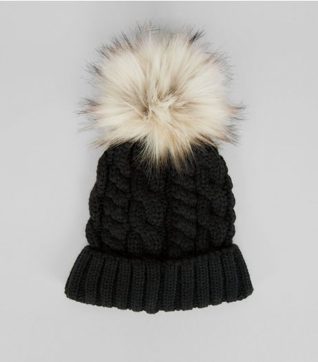 Black Faux Fur Pom Pom Cable Bobble Hat | New Look