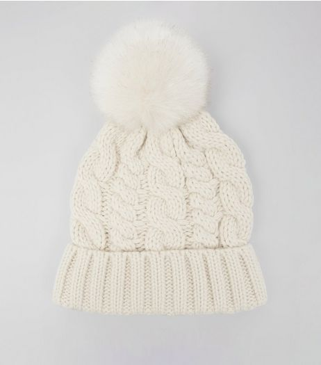 White Faux Fur Pom Pom Cable Bobble Hat | New Look
