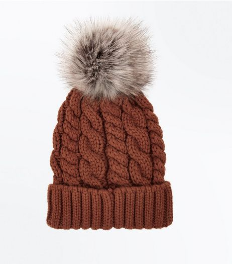 Orange Faux Fur Pom Pom Beanie Hat | New Look
