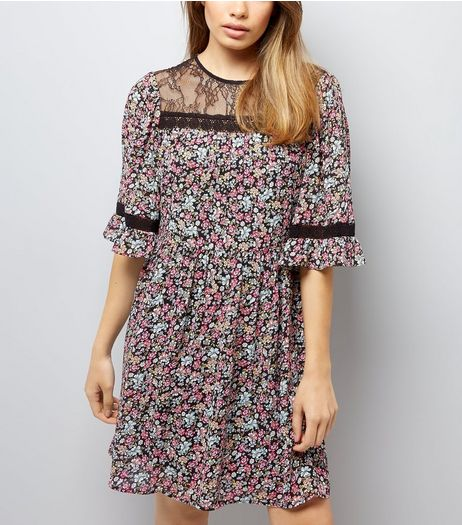 Black Floral Print Lace Neck Smock Dress | New Look