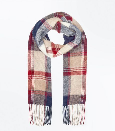Red Check Fringed Scarf | New Look