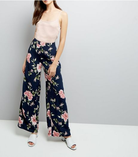 Blue Floral Print Wide Leg Trousers | New Look