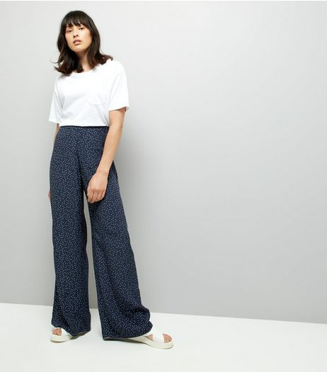 Navy Spot Print Wide Leg Trousers | New Look