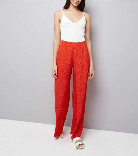Red Spot Print Wide Leg Trousers | New Look