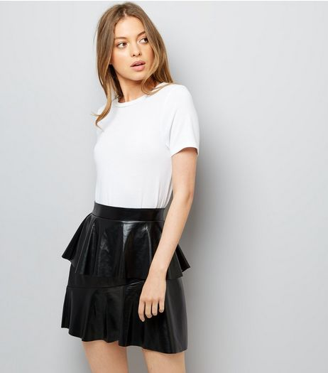 Noisy May Black Leather-Look Frill Trim Skirt | New Look
