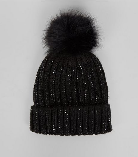 Black Diamante Embellished Bobble Hat  | New Look