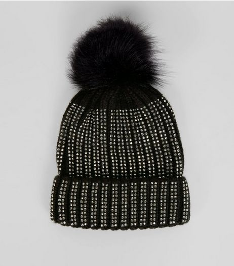 Black Contrast Diamante Embellished Bobble Hat  | New Look