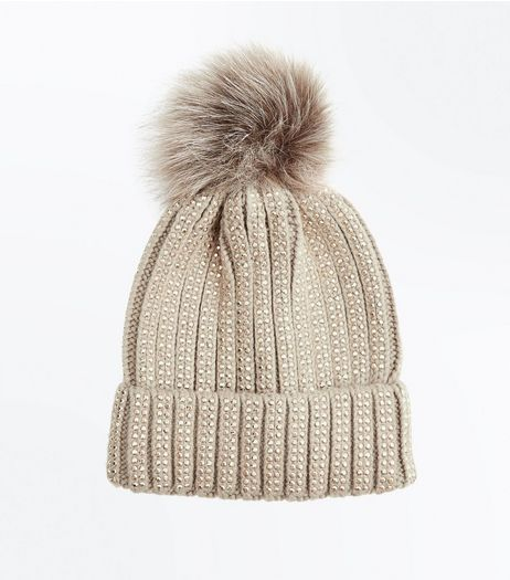 Mink Diamante Embellished Bobble Hat  | New Look