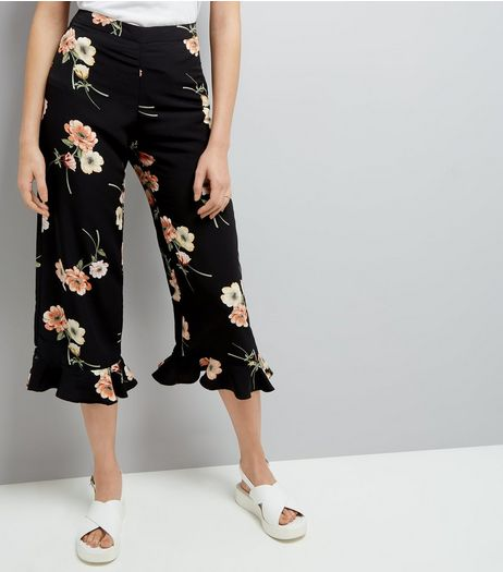 Black Floral Print Frill Hem Cropped Trousers | New Look