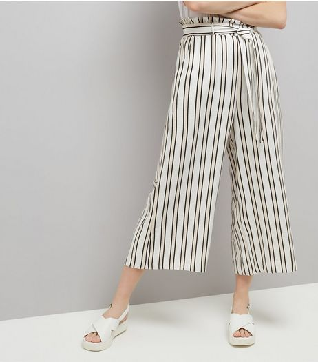 White Stripe Paperbag Cropped Trousers | New Look