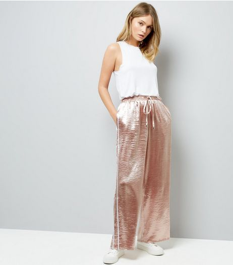 Pink Vanilla Pink Satin Wide Leg Trousers | New Look