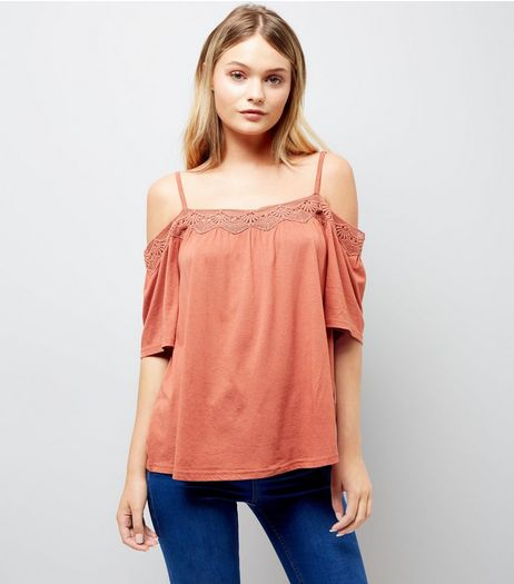 Light Brown Crochet Trim Cold Shoulder Top | New Look
