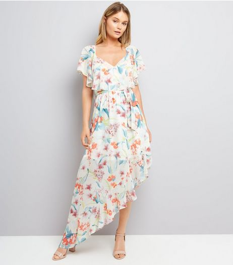 White Floral Print Asymmetric Frill Hem Dress | New Look