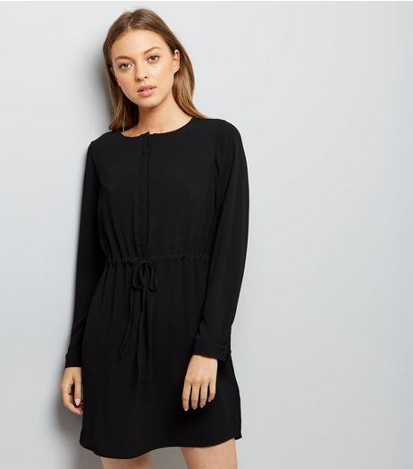 Black Grandad Collar Dress | New Look