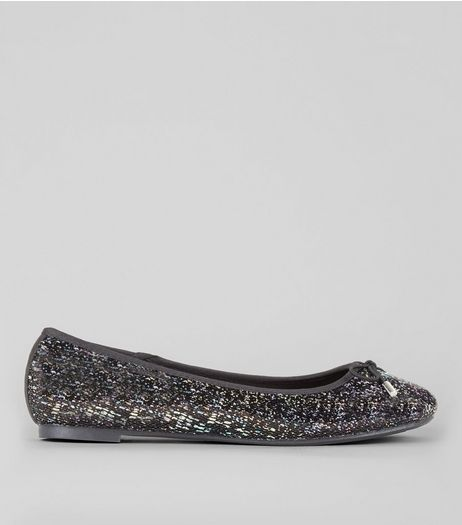 Black Sequin Embellished Ballerina Pumps | New Look