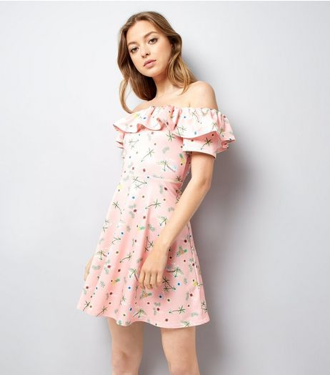 Pink Tropical Print Bardot Skater Dress | New Look