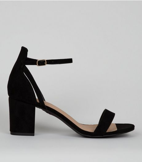 Black Comfort Suedette Low Block Heels | New Look
