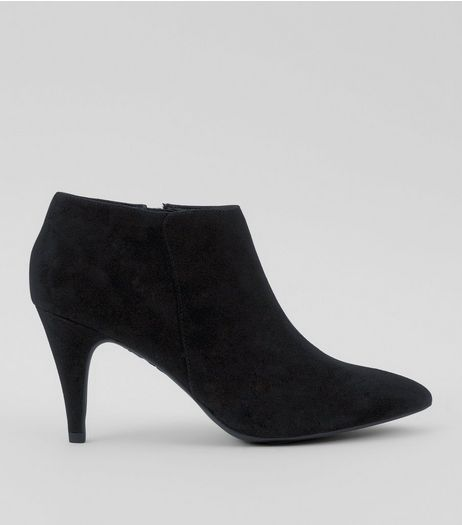 Black Suedette Cone Heel Shoe Boots | New Look